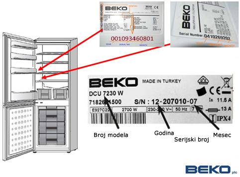 Primer BEKO nalepnice na kombinovanom frižideru.