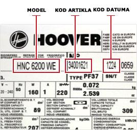 Candy-Hoover primer nalepnica.